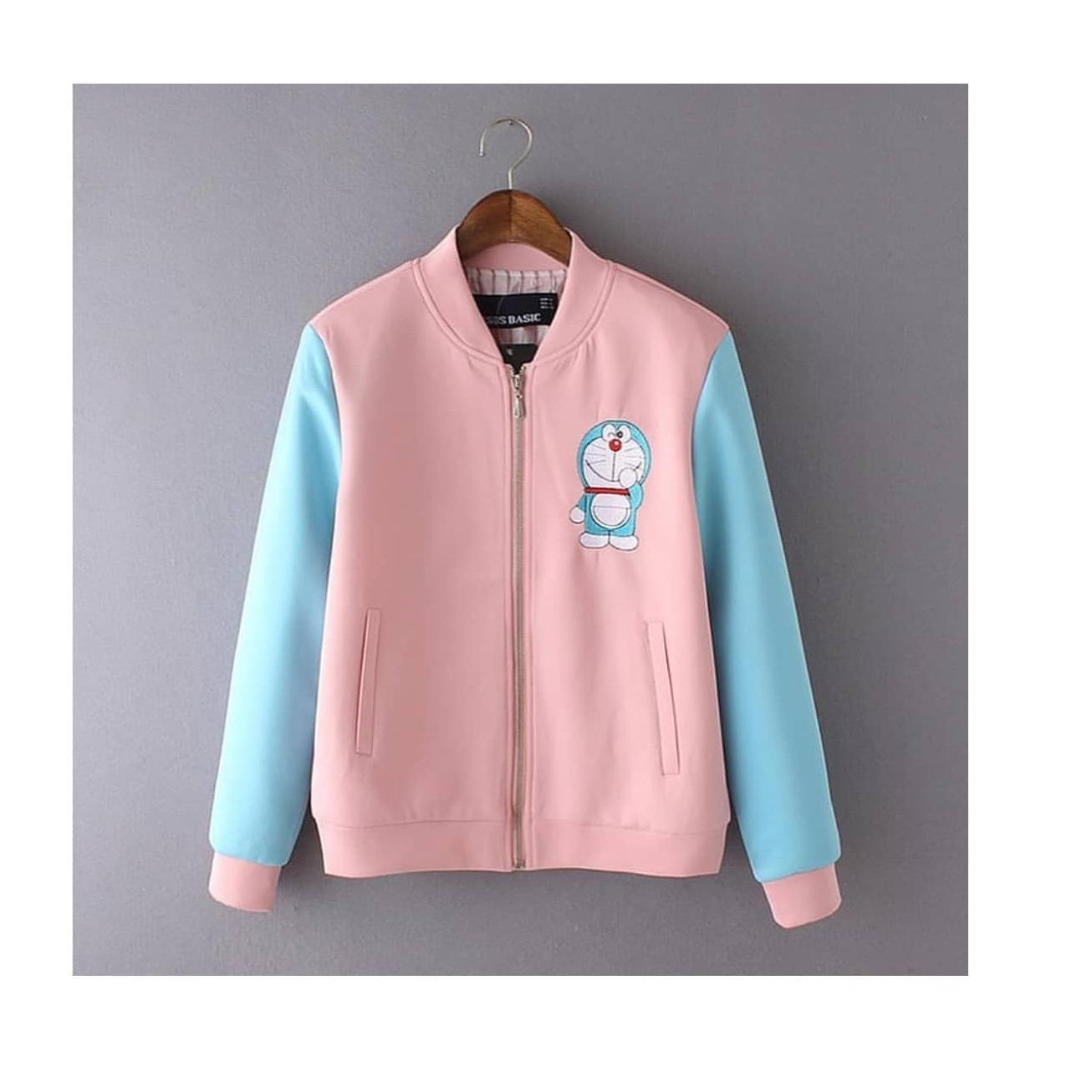 "Sweater&Jaket ""SF SMILE DORA"" Lucu Untuk Wanita Bahan Fleece Babyterry Kanvas Jeans Santai Murah Keren Trendy Fashionable 2018"