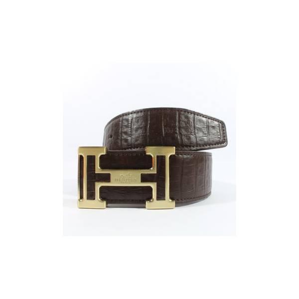 Gesper Ikat Pinggang Kulit Pria Import Hermes 215 Gold Brown