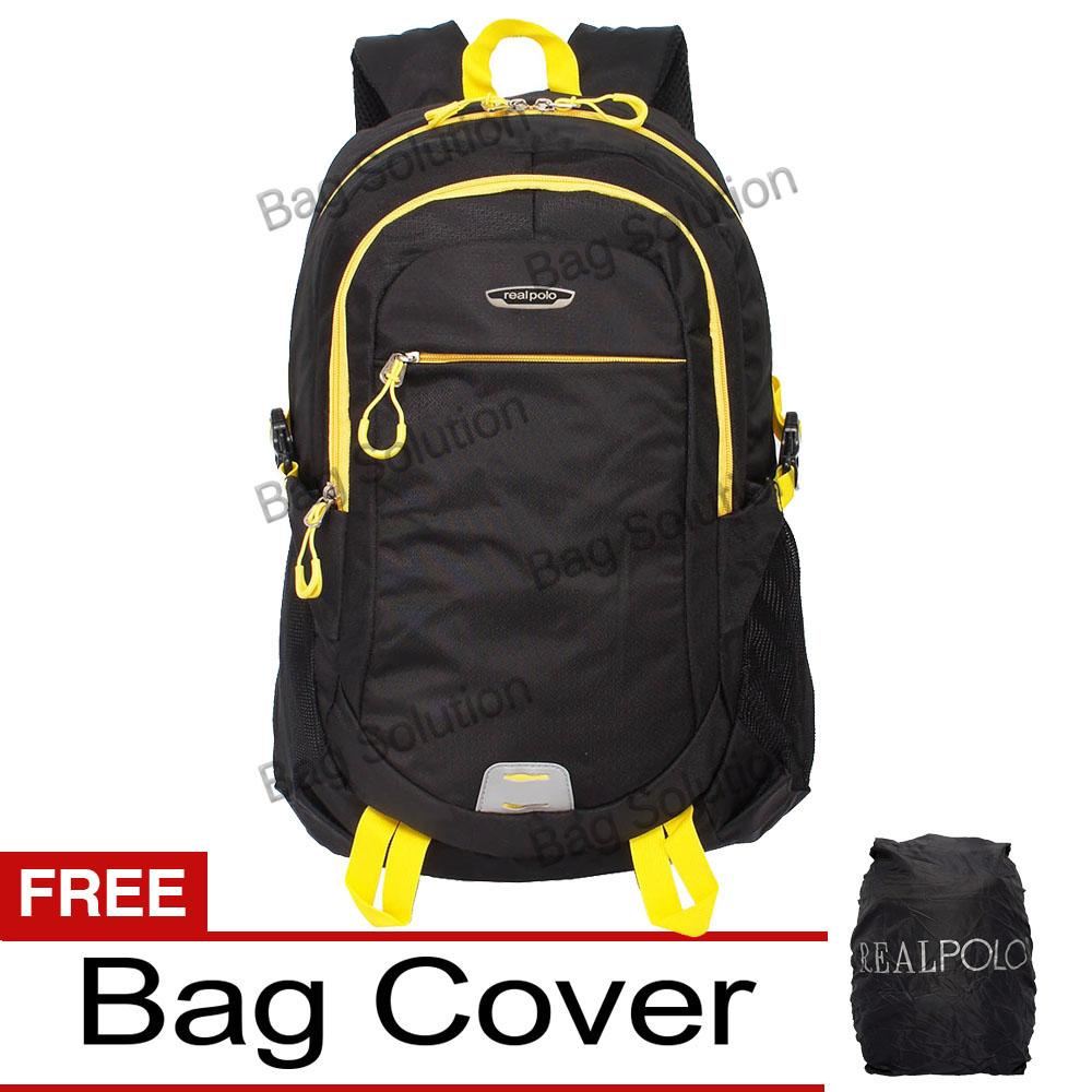 Real Polo Tas Ransel Laptop Kasual - Tas Pria Tas Wanita 6358 Backpack Up to 15 inch Bonus Bag Cover - Hitam