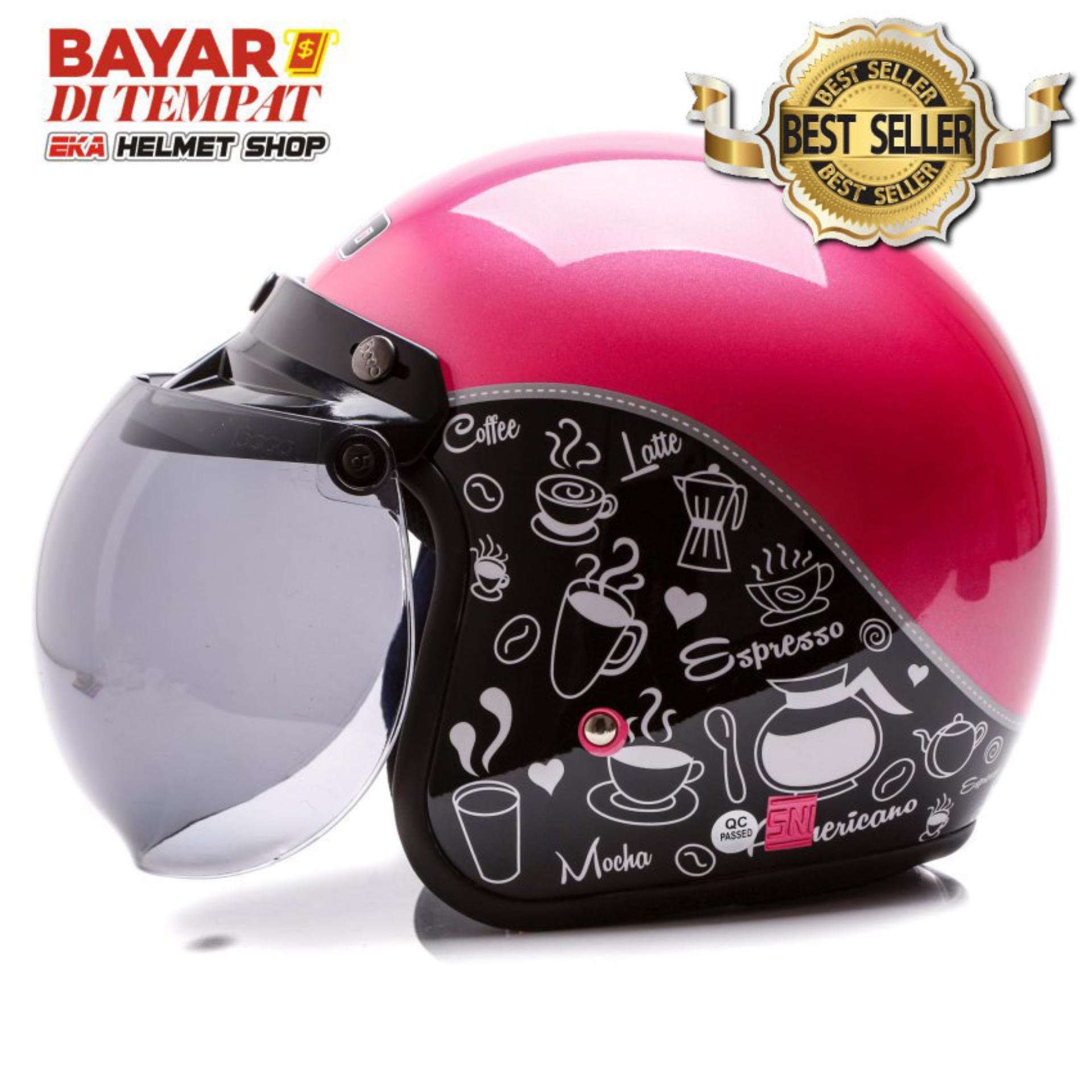 Jual Produk Wto Helmet Terlengkap Helm Bogo Kulit Untuk Dewasa Pria Dan Wanita Retro Classic Coffee Hitam Pink