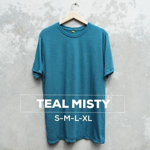 Baju Kaos Polos Oblong Bandung Teal Misty Pria Wanita