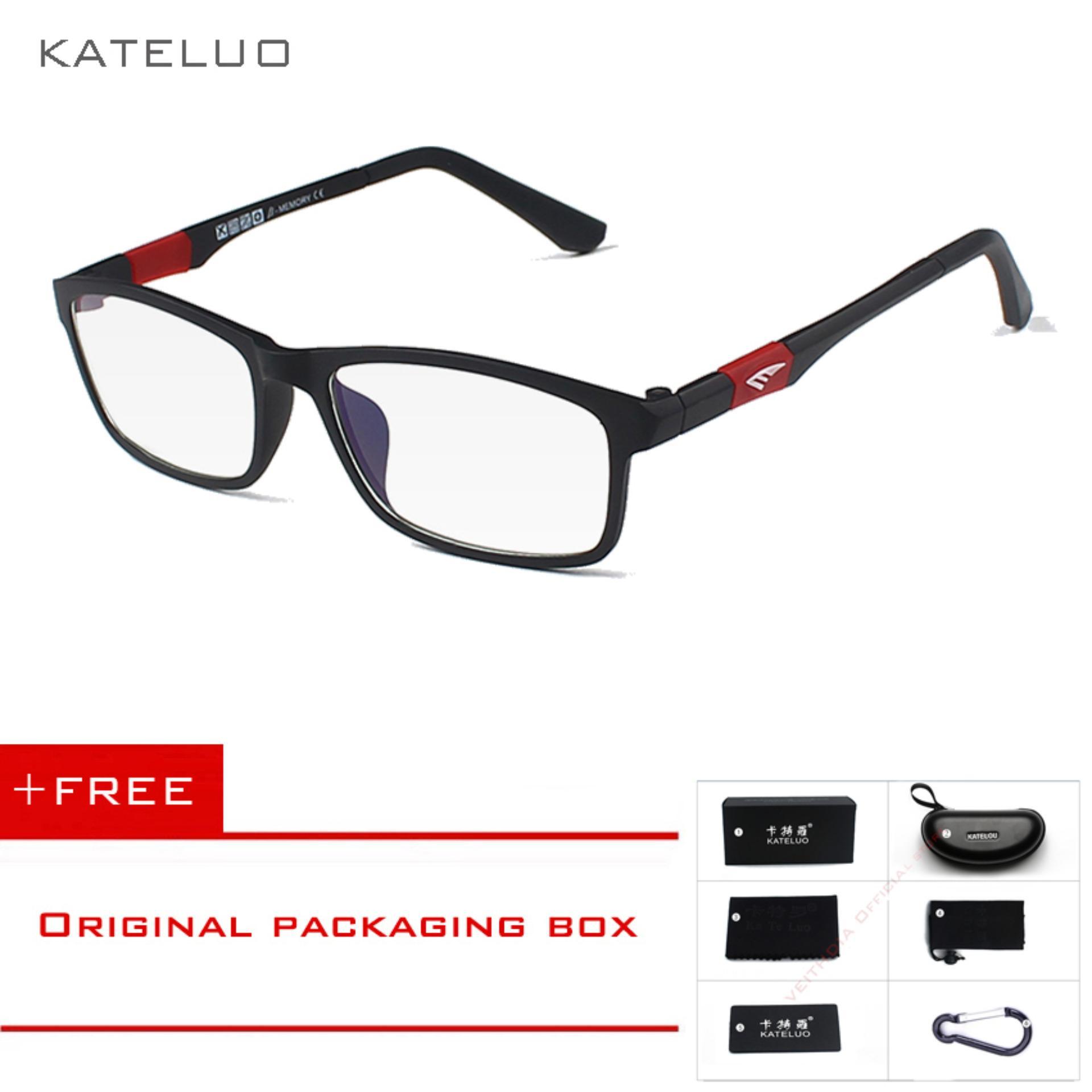 [INTERNATIONAL] KATELUO baru baca komputer merek kacamata wanita Kacamata Pria kacamata radiasi ultra violet Kelelahan miopia bingkai Hitam putih bule 13022