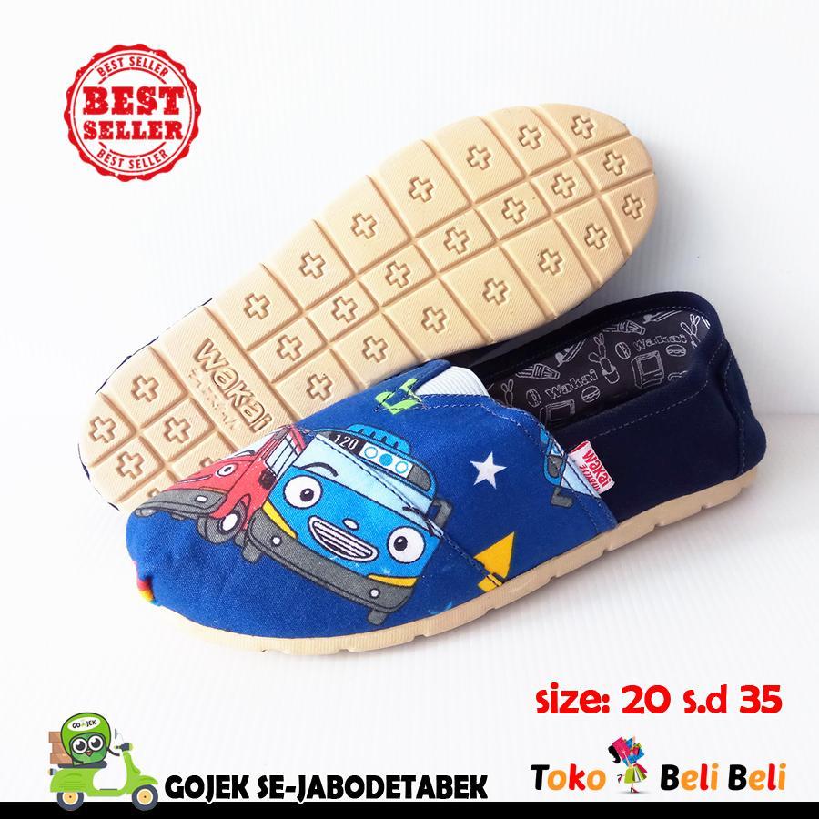 wakai sepatu slip on anak - motif navy tayo