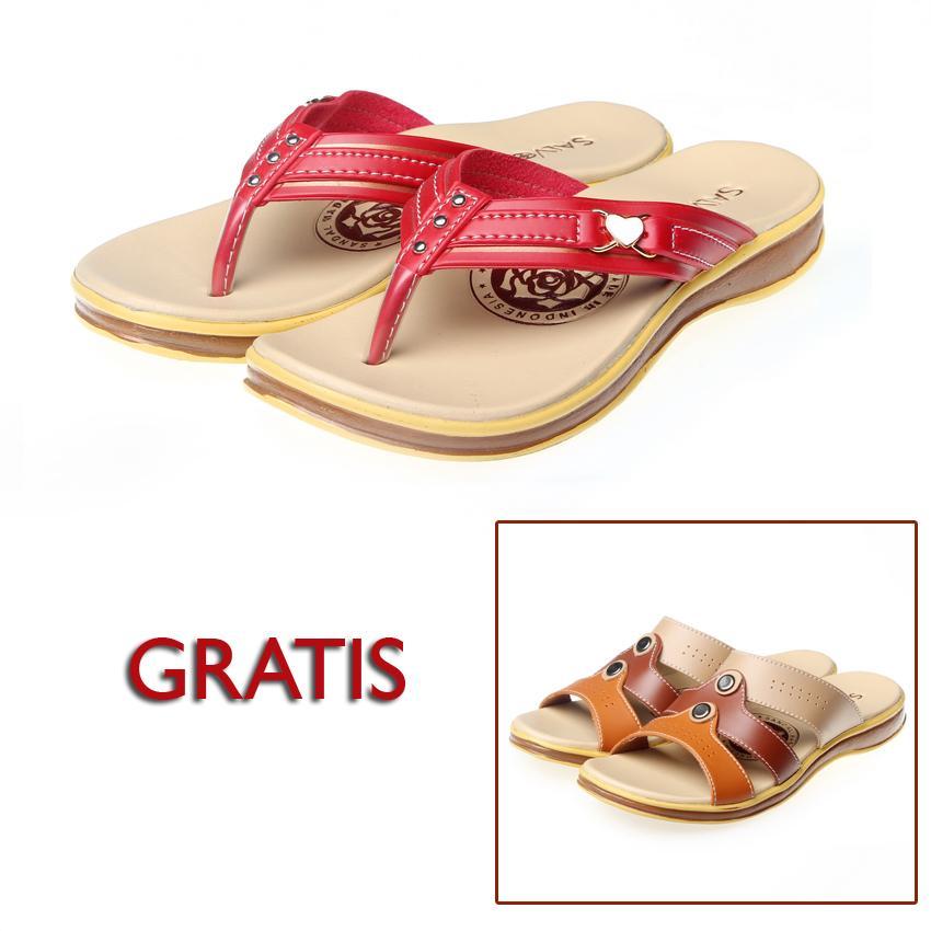 Salvora sandal casual S19 merah free S20 cappucino
