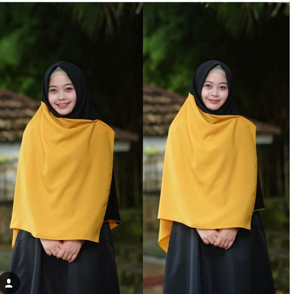 Segiempat wolfis two tone 2 warna kombinasi syari instan jilbab hijabIDR88000