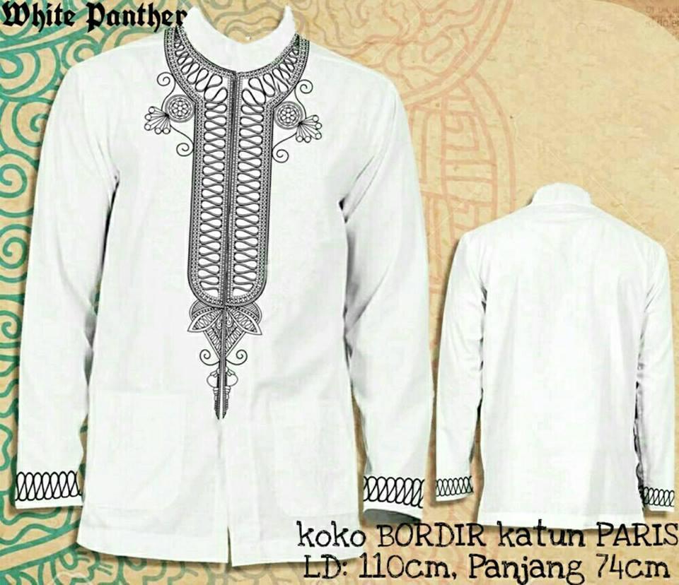 legiONshop-kemeja muslim pria  koko terbaru  muslim wear  baju muslim  koko pria PANTHER (motif bordir tebal)