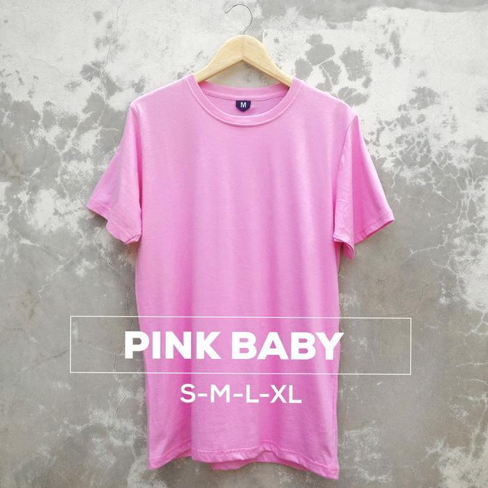 Baju Kaos Polos Oblong Bandung PINK BABY Merah Muda Cewek Cowok
