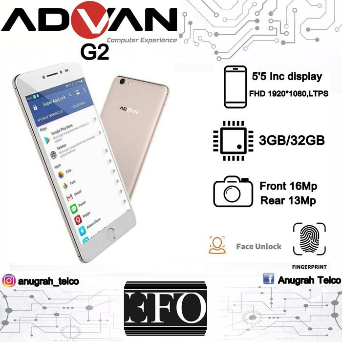 Advan G2 Selfie New 4G LTE - Ram 3GB/32GB - Front Cam 16MP - Back Cam 13MP Battery 3500 mAh