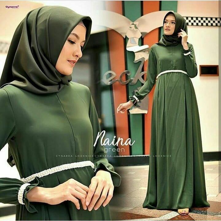 Baju Muslim Original Gamis Naina Dress Wolfice Baju Panjang Muslim Dress Casual Wanita Pakaian Hijab Modern Gamis Modis Trendy Gaun Terbaru 2018