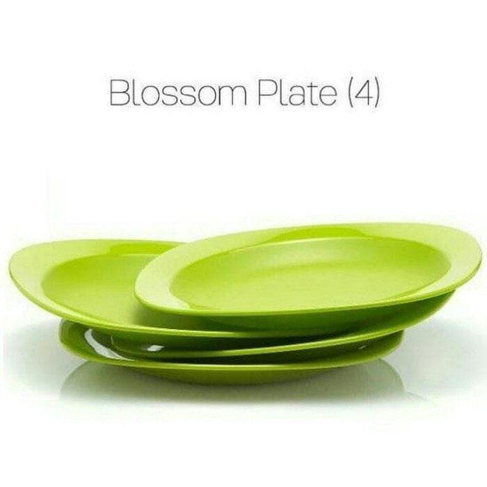 Tupperware Blossom Plate (4pcs) - piring makan ukuran besar warna hijau / piring makan tupperware