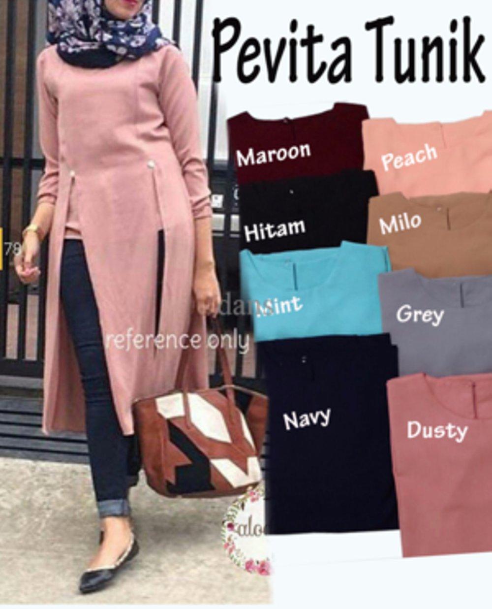 Baju Atasan Wanita Tunik Baju Muslim Blus Muslim Pevita / Blouse Wanita / Blouse muslimah /