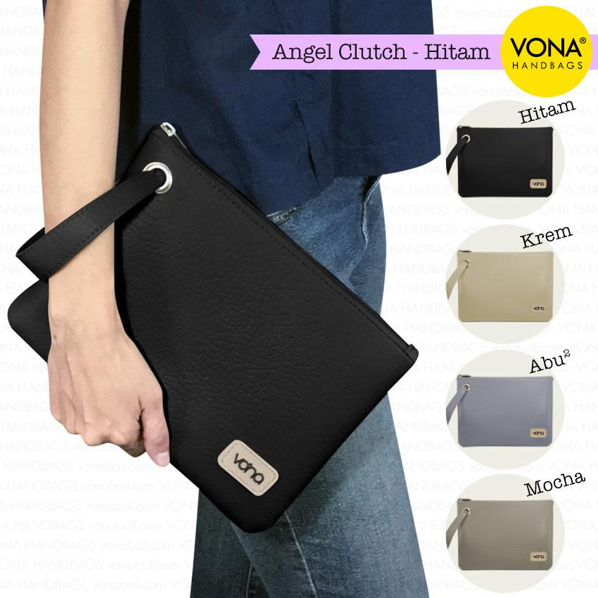 VONA Bags - Angel - Tas Clutch Wanita Remaja Cewek Kecil Mini Cantik Dompet Pouch HP Branded Original Murah Tali Lebar Korean Style Fashion Bali Indonesia Kulit Sintetis PU Leather Women Girl Hand Bag Handbag Wristlet Best Seller New Arrival Baru Terlaris