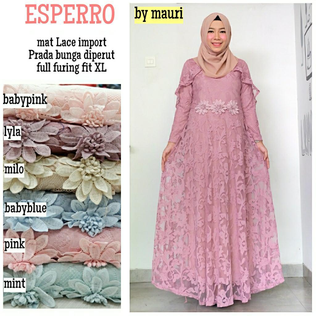 Gamis Long dress maxi wanita muslim brokat lace espresso fit. gaun cape