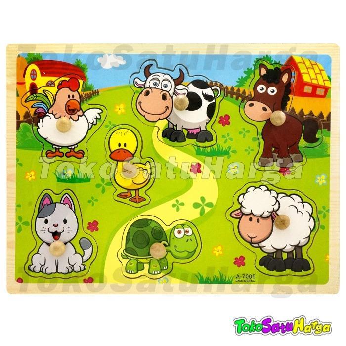 TSH Mainan Edukasi Puzzle Kayu Knob Binatang Animal Jigsaw Wooden A-7005