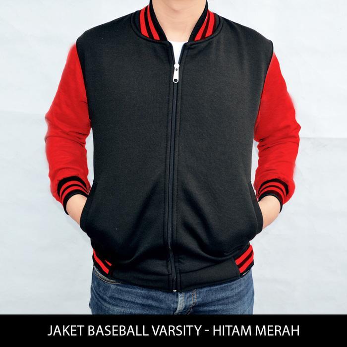 Harga Spesial!! Big Size Jaket Baseball Varsity Polos Hitam - Merah Xxl - Xxxl - ready stock
