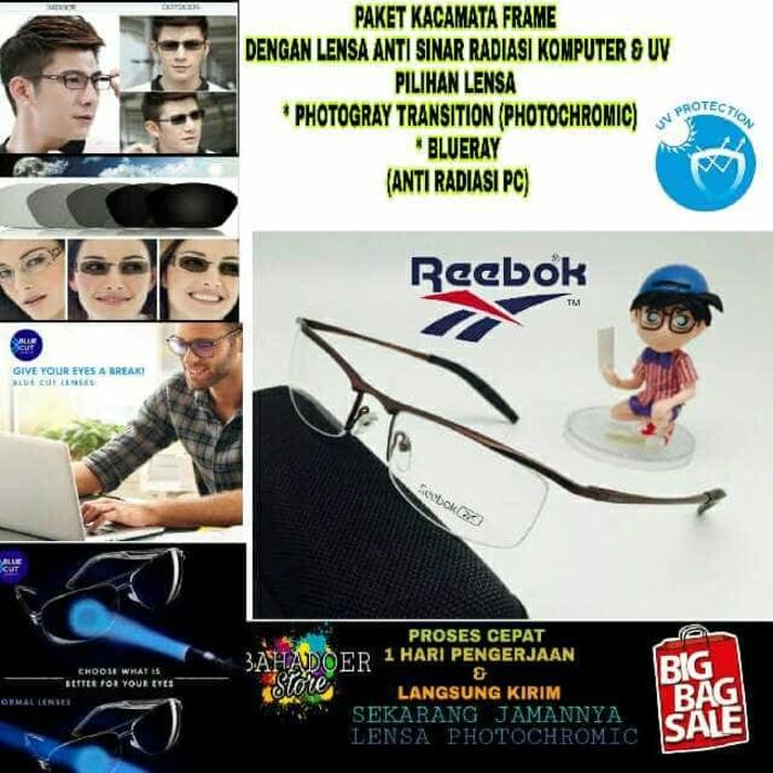 diskon 10%!! Kacamata Minus Frame Reebok Dengan Lensa Minus Anti Sinar Radiasi Uv - ready stock