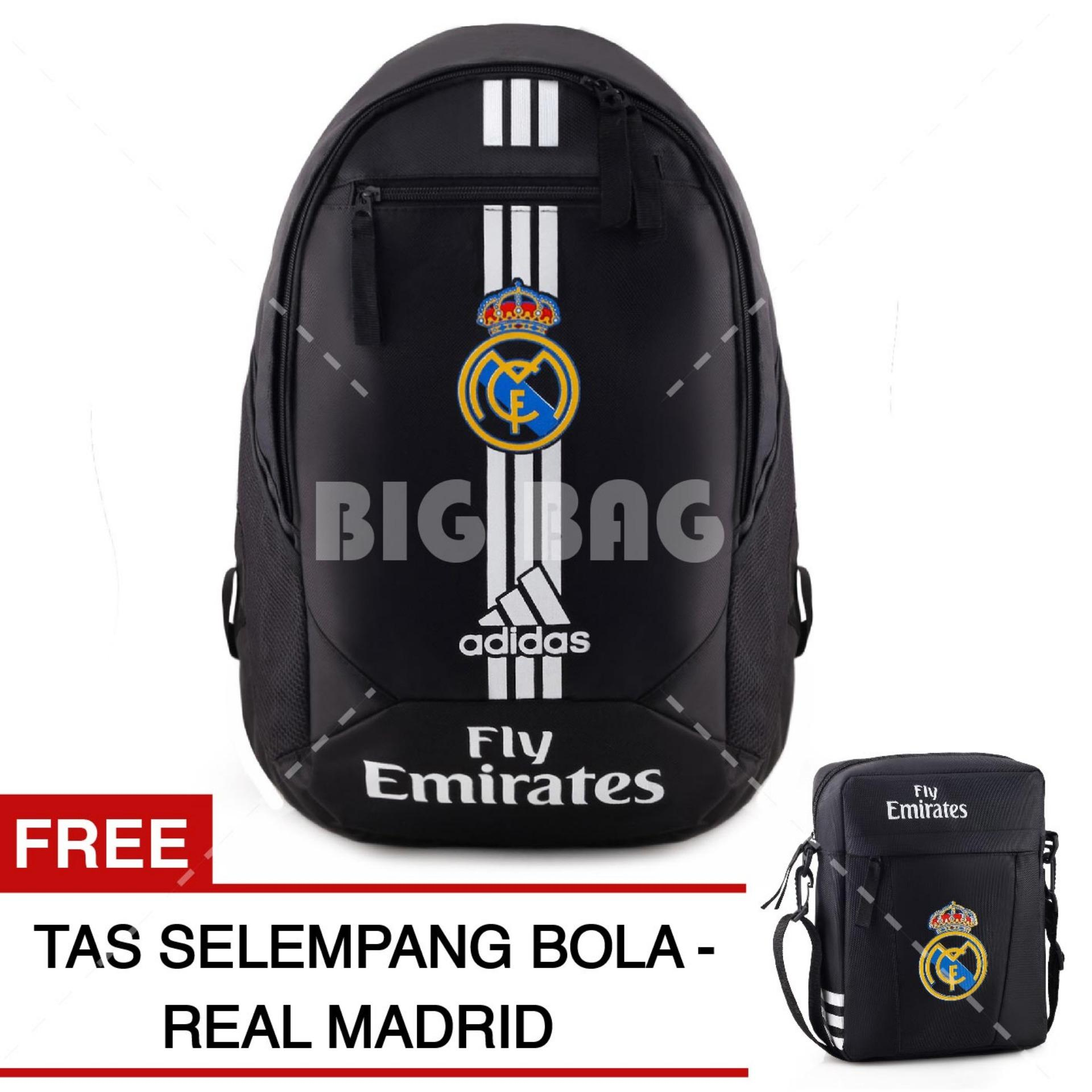 Tas Ransel Adidas Bola Pria Real Madrid C.F Laptop Backpack Men Soccer Editions - Black + Raincover + FREE Tas Selempang Real Madrid - Black