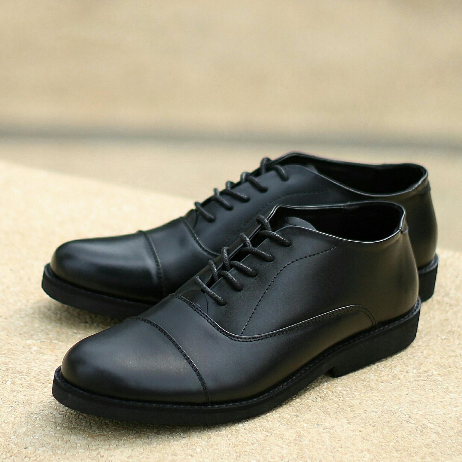 Sepatu Pria Formal / Kerja / Kantor / Resmi Kulit Asli Terbaru - KENZIO OXFORD 02 - Full Hitam