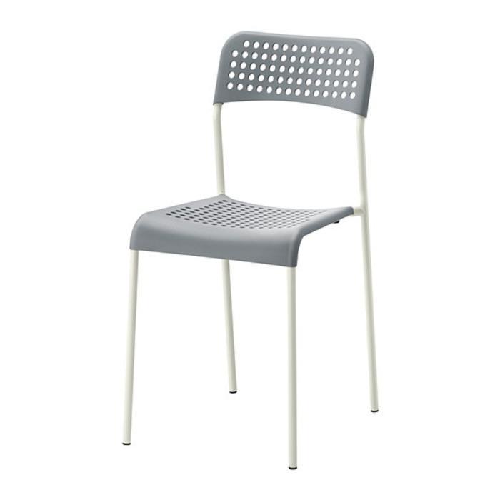 IKEA ADDE Kursi, abu-abu, putih