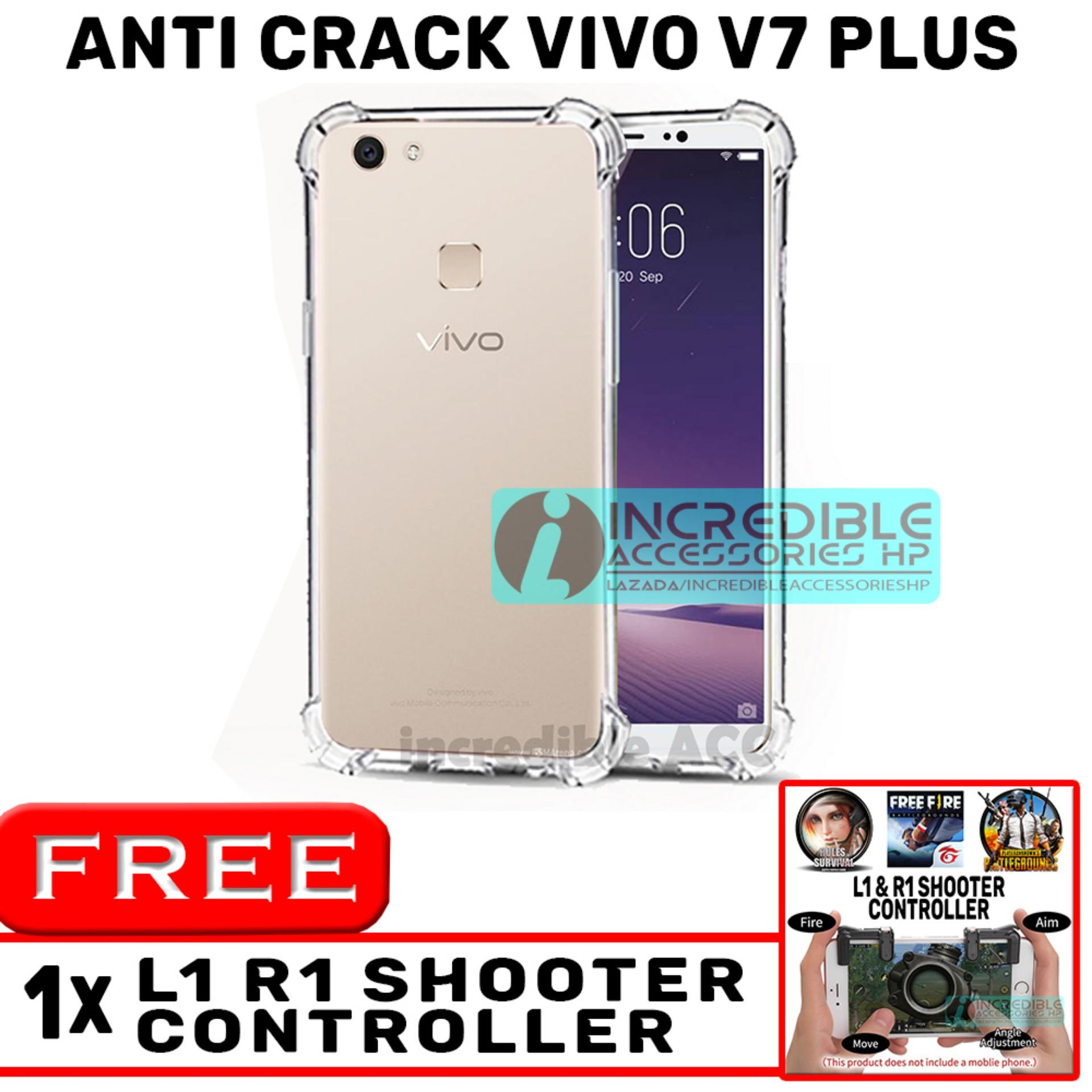 Anti Crack for Vivo V7 Plus Softcase Elegant Anti Shock Jelly Case - Bening + Free PUBG Mobile L1 R1 Shooter Controller