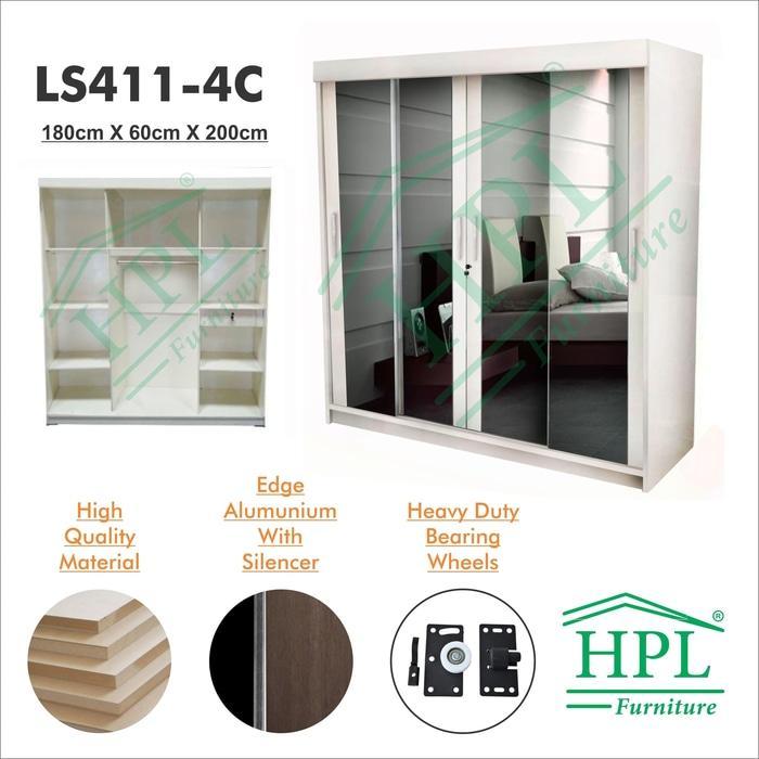 Lemari Pakaian HPL+Kaca sliding 4 Pintu Putih Glossy @ lemari pakaian kayu jati plastik anak portable minimalis plastik murah gantung sliding bayi