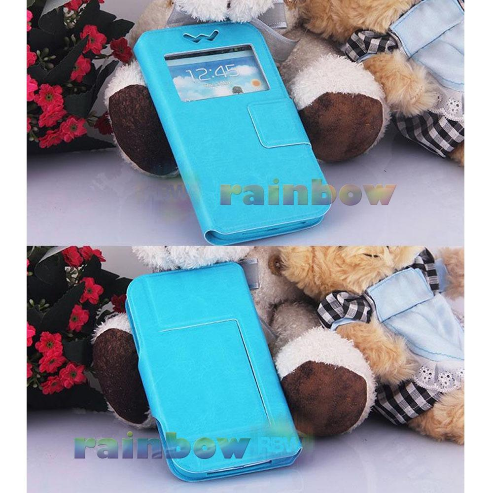"""Rainbow Flip Cover Universal F5 View 5.3"""" - 5.5"""" Leather Case + Silicone Push (Size XL) / Sarung Case / Dompet Hp / Universal Phone Cover - Biru Muda"""