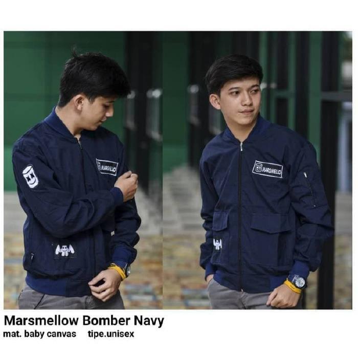 KEI'S jaket sweater pria marsmaello bomber navy bahan baby canvas
