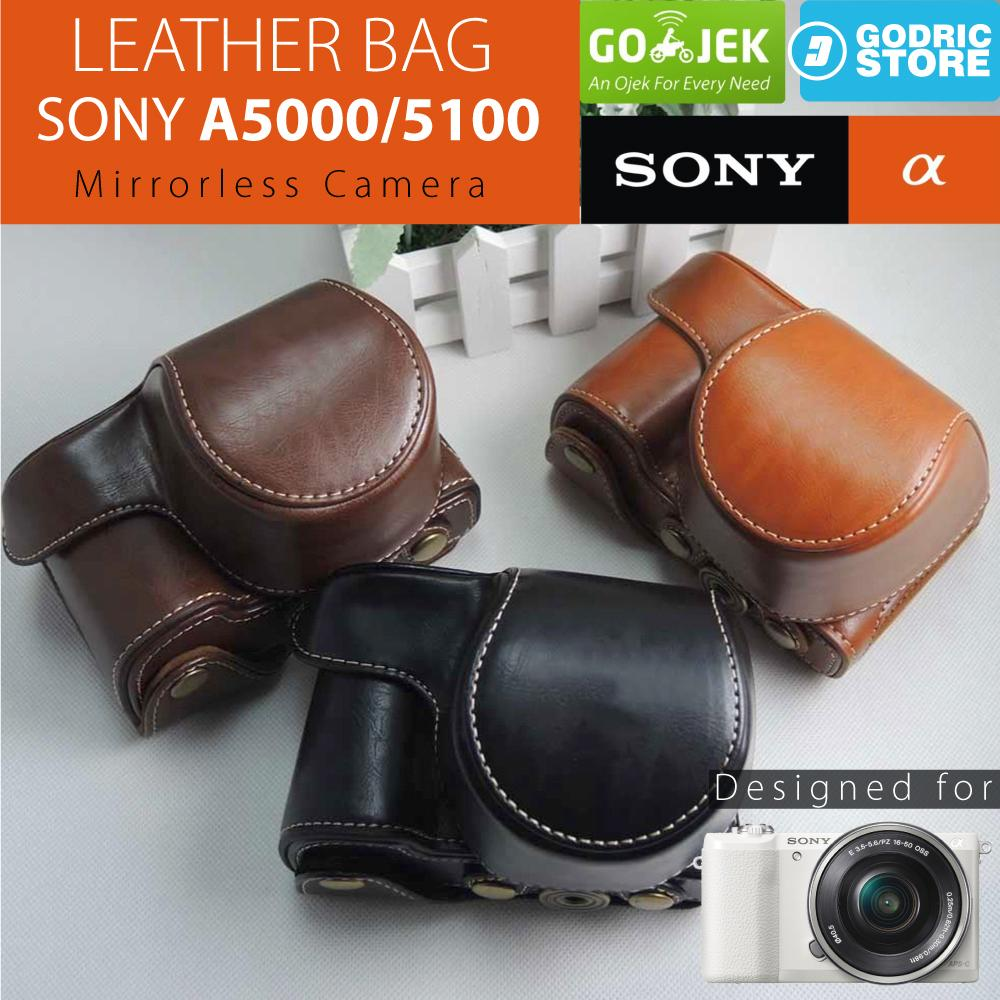 Sony Alpha A5000 / A5100 Leather Bag / Case / Tas Kulit Kamera Mirrorless