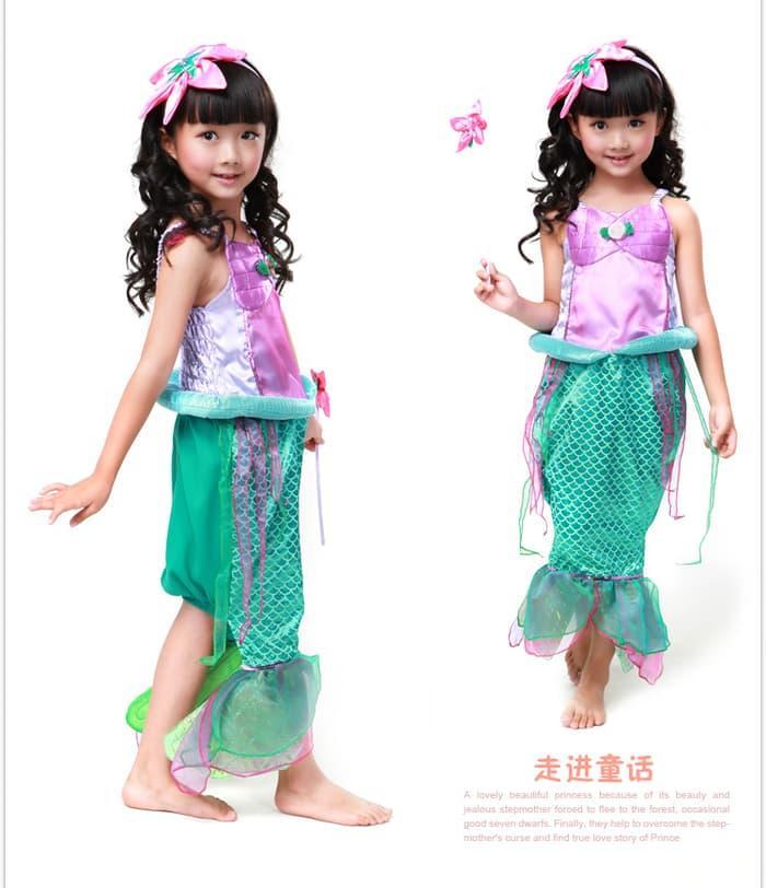 Gaun Anak Perempuan Ikan Duyung Princess Disney Arial Mermaid