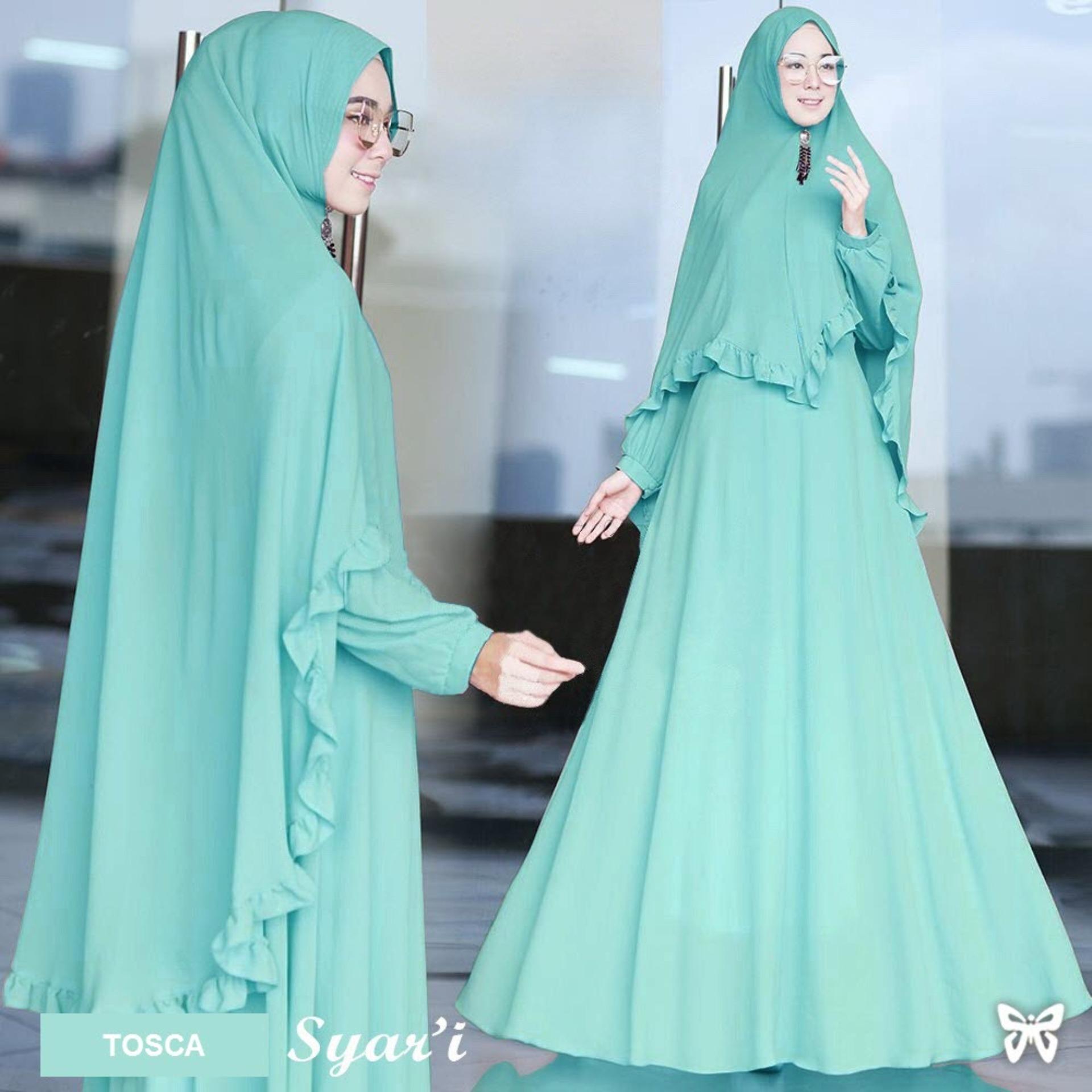 Flavia Store Gamis Syari Set 2 in 1 FS0719 - TOSCA / Baju Muslim Wanita Syar'i / Gaun Muslimah / Maxi Dress Lengan Panjang / Hijab Polos / Srjuanita