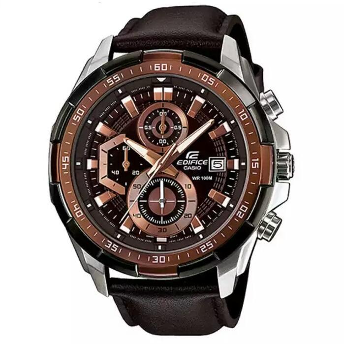Jam Tangan Pria Casio Edifice EFR-539L-5AV Brown Strapp Leather