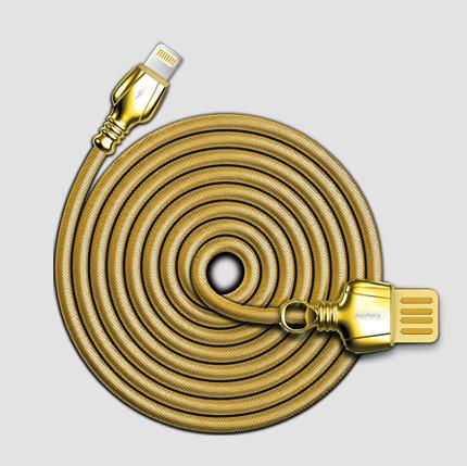 REMAX King Data Cable For Lightning RC-063i Gold Untuk iPhone X / 8 / 8 Plus / 7 / 7 Plus / 6 / 6S / 5 / iPad Air