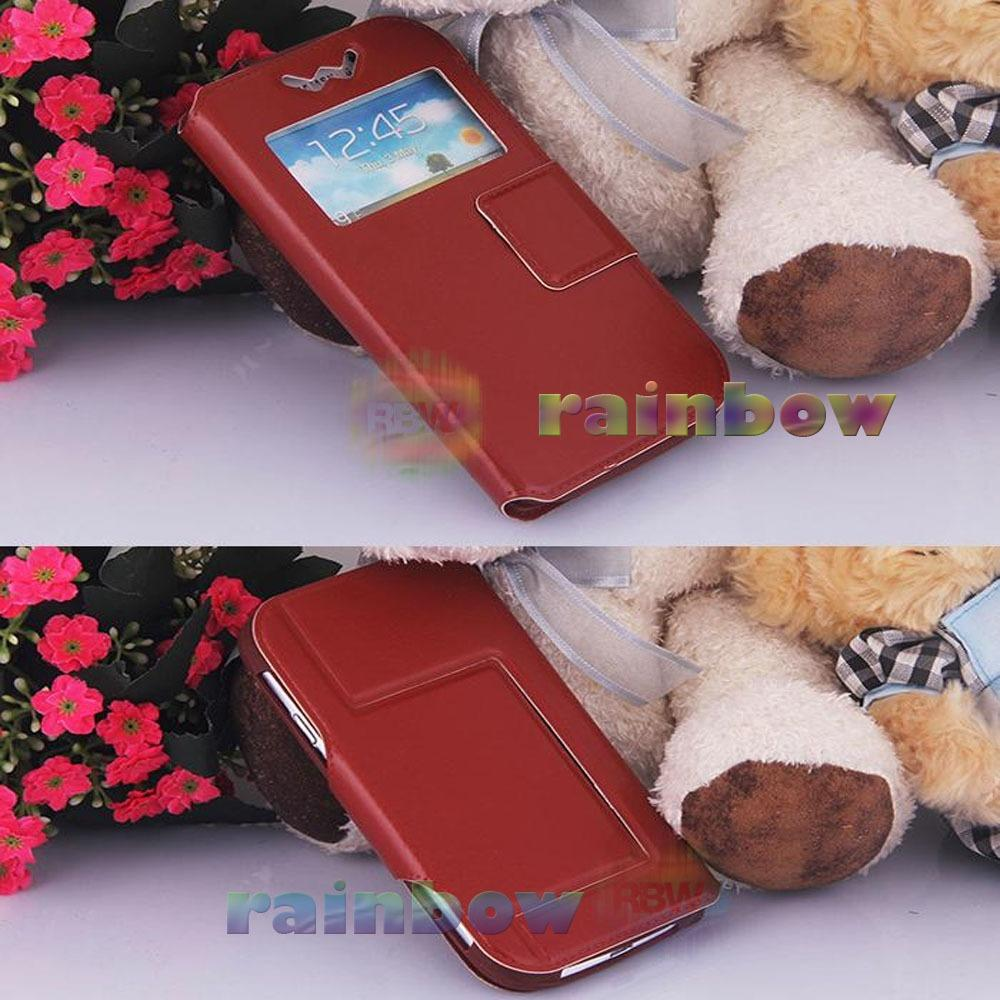 """Rainbow Flip Cover Universal F5 View 5.3"""" - 5.5"""" Leather Case + Silicone Push (Size XL) / Sarung Case / Dompet Hp / Universal Phone Cover - Coklat Tua"""