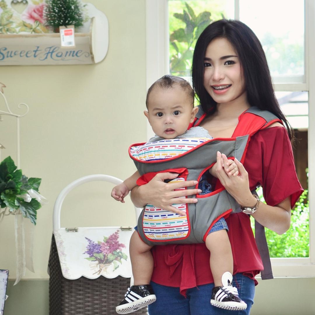 HS Gendongan Bayi Depan / Ransel Snobby + Saku Line Series - Merah