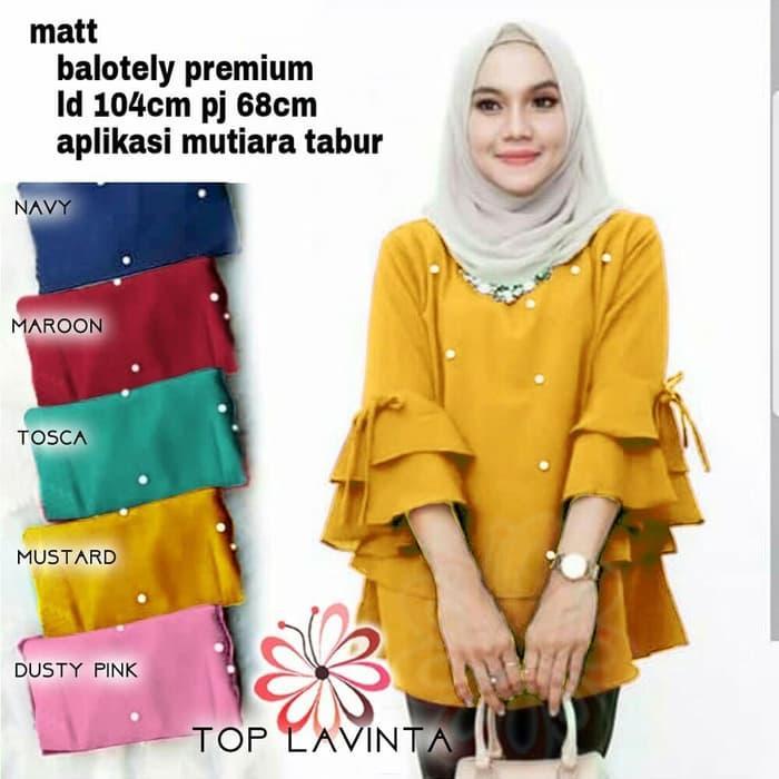 baju muslim hijab blouse tunik atasan bulu tassel terompet tasel puff / Blouse Muslim / Blouse