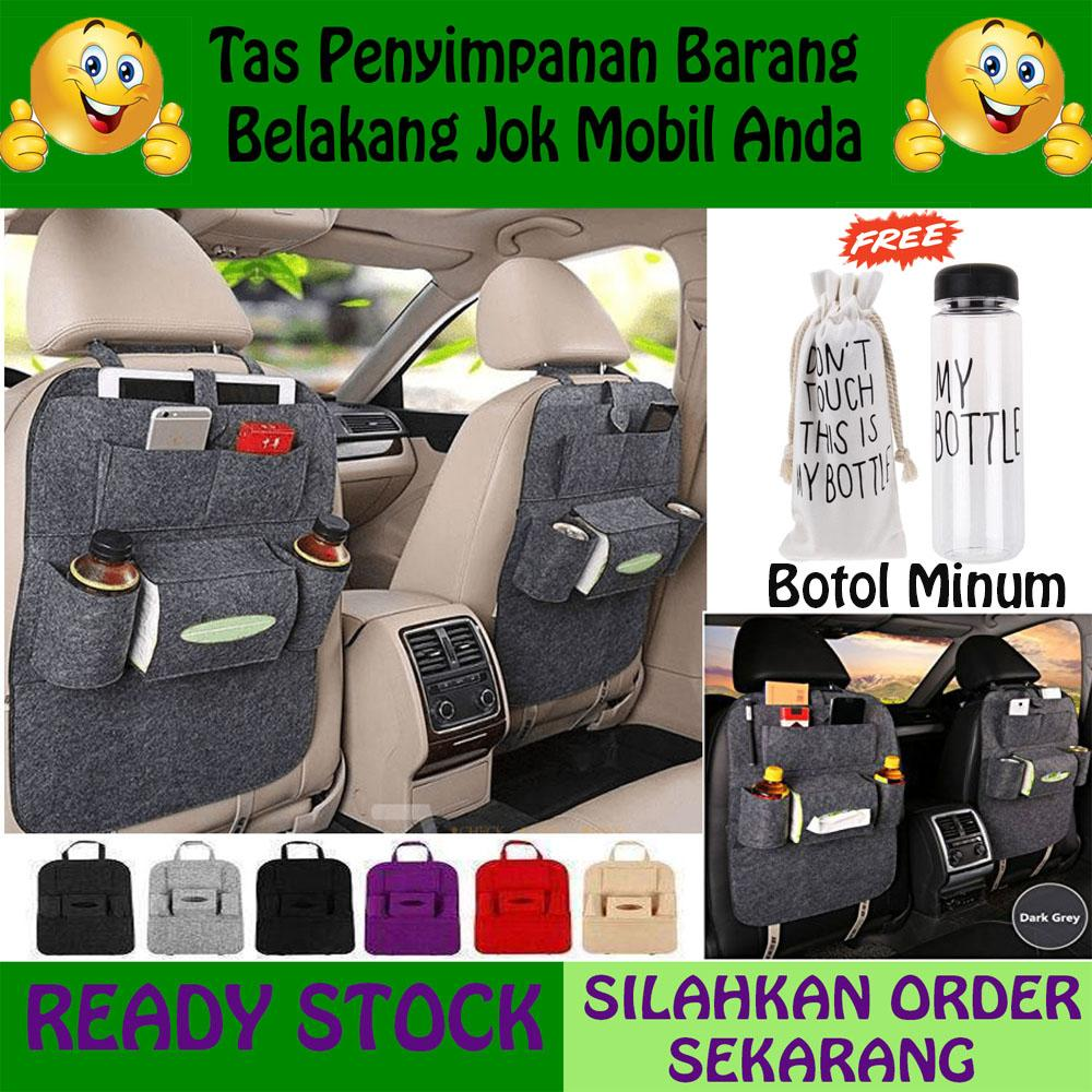 2PCS Tas Penyimpanan di Belakang Jok Mobil / Sestar / Car Seat Organizer - Hitam Gratis Botol Minum