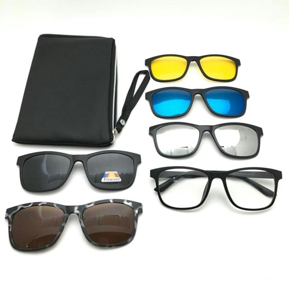 Kacamata Magnet Sunglasses Kacamata Clip On 5 Lensa Super Fullset 2201, Kacamata Pria Wanita, Anti Radiasi, Kacamata Hitam, Trend, Gaya,
