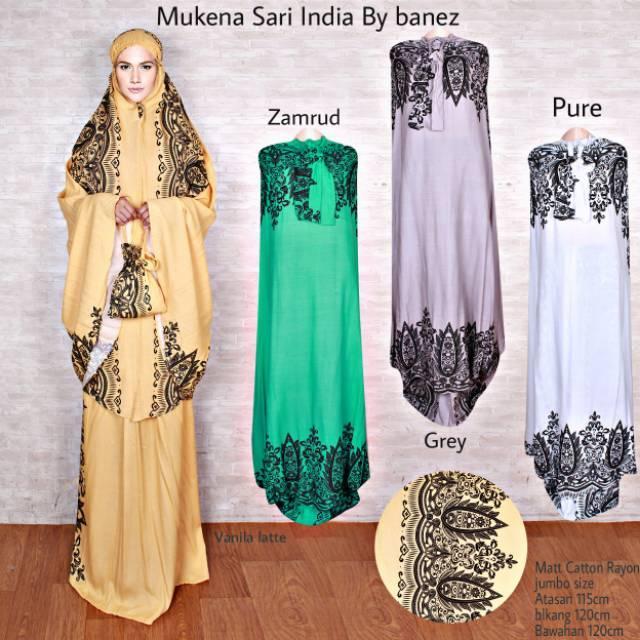 Mukena SARI India Songket Cantik Elegant Termurah Teradem (zamrud)