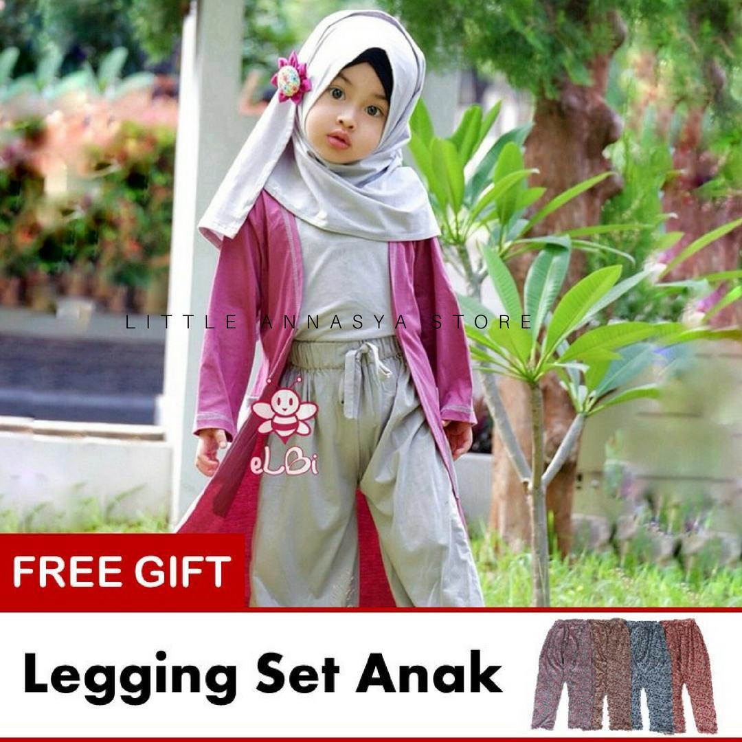 eLBi - Baju Muslim Anak Perempuan / Baju Muslim Balita Perempuan / Gamis Anak / Baju Muslim Anak / Baju Muslim Bayi Perempuan / Baju Pesta Anak Muslim / Gisela Series