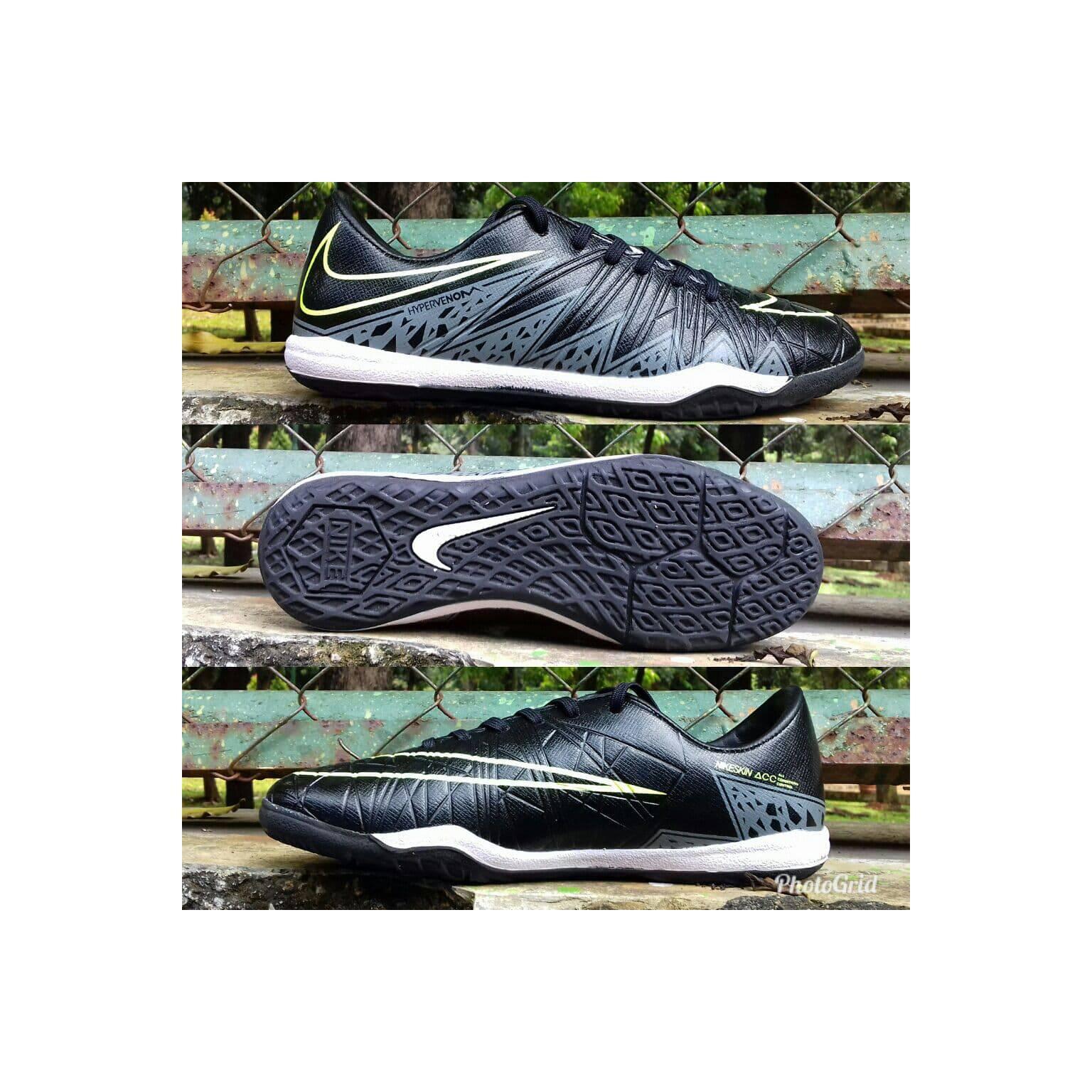 sepatu futsal Nike hypervenom hitam list grey sol karet