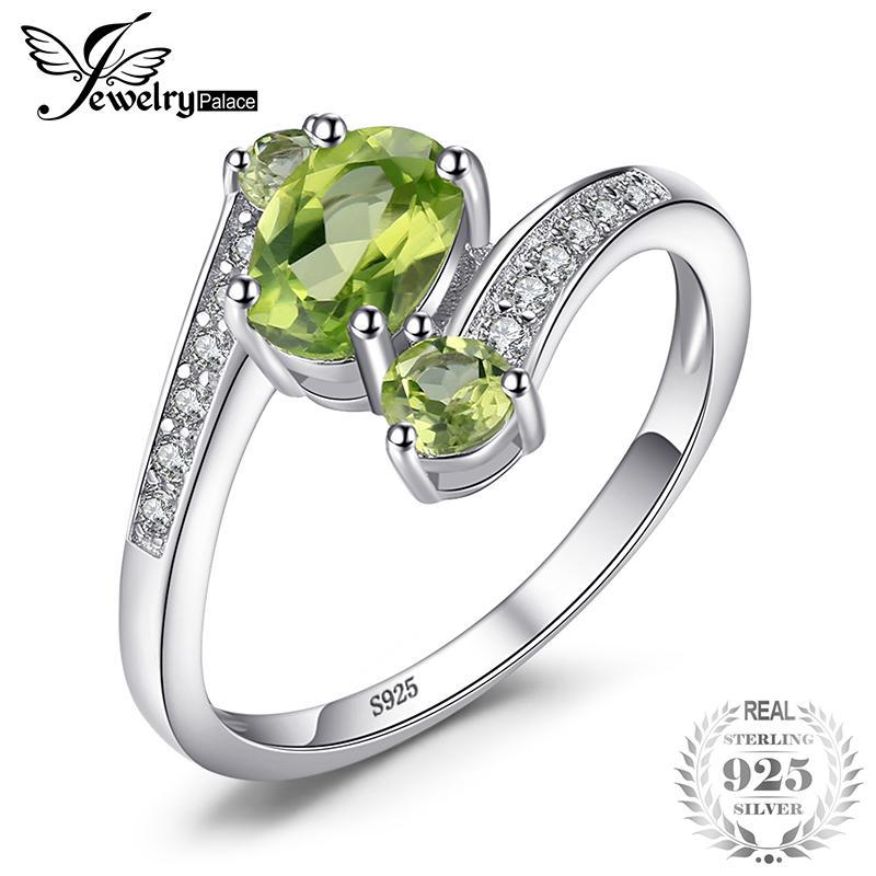 Jewelrypalace 925 Perak Berkilau 1.1ct Batu Peridot Alama Hijau 3 Batu Cincin Ulang Tahun