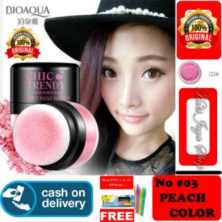 HOKI COD - 03 PEACH COLOR - Bioaqua Original Perona Pipi CHIC TRENDY Soft Rose Blush On Powder Original + Gratis Pulpen Lilin Unik Serba Guna Hitam Pekat - 1 Pcs thumbnail