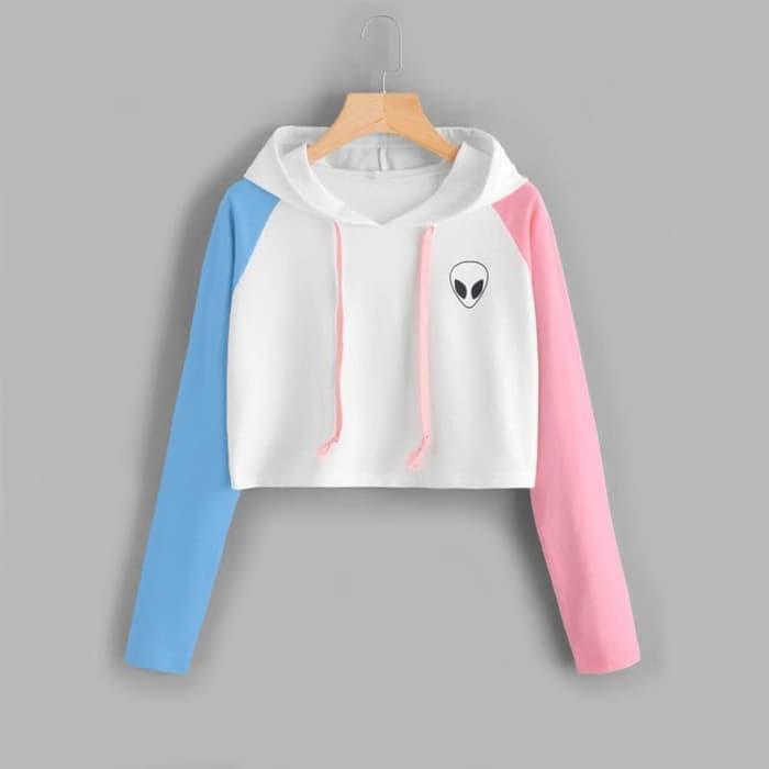 erlina.fashion Sweater Wanita Crop Hoodie Ali-En Kombinasi - Tali - Putih c343577fd0