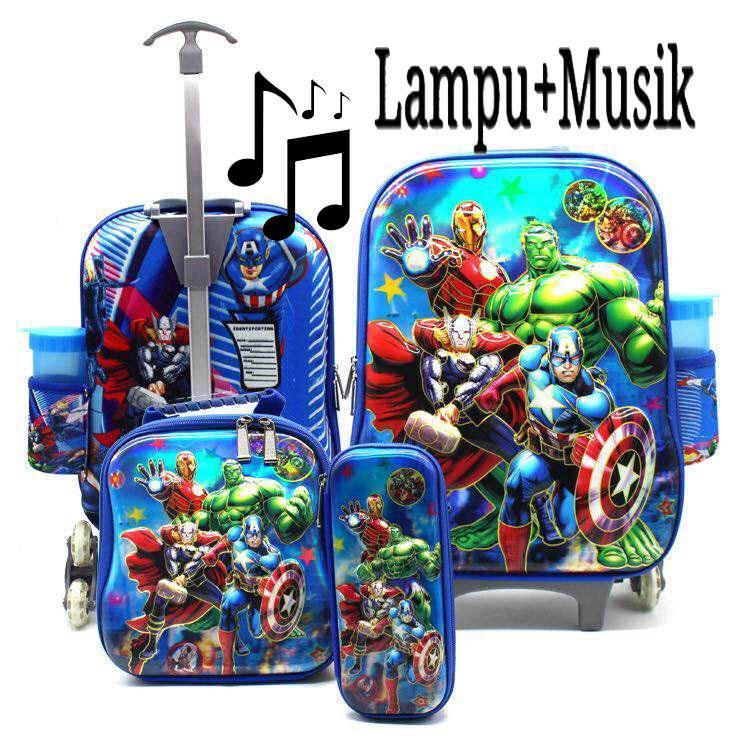 Onlan Marvel Avengers Captain America LAMPU DAN MUSIC 5D Timbul Hologram Trolley Anak Sekolah 4in1 Set 6 Roda - Biru