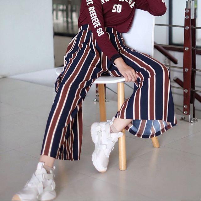 Termurah Celana Kulot Retro / Strip Palazzo Cullotes Pants / Norway cullotes / Celana Kulot Strip