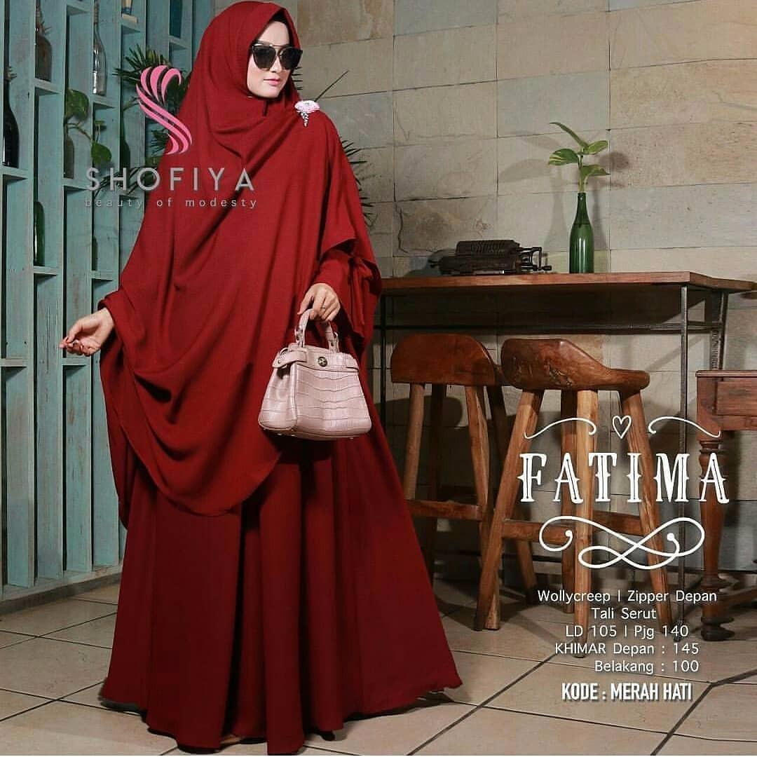 Baju Original Gamis Fatima Syari Dress Baju Panjang Muslim Casual Wanita Pakaian Hijab Modern Modis Trendy Terbaru 2018