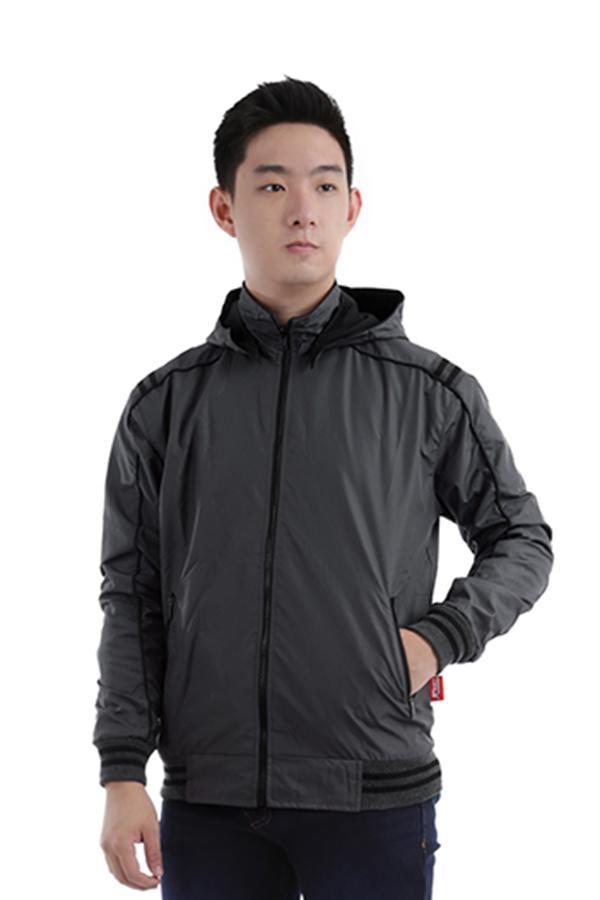 Elfs Shop - Jaket Hoodie Waterproof Bolak-Balik 2 Sisi 175D15 / Men's Reverseable Outwear Parasut T