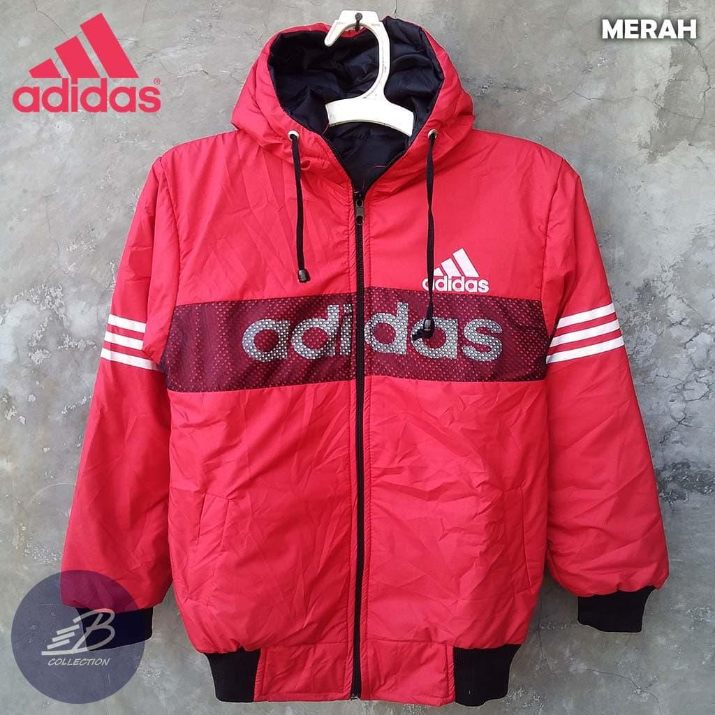 Jaket Adidas Anak Bahan Parasut Tebal Hoodie Ukuran Tanggung Merah  Merah