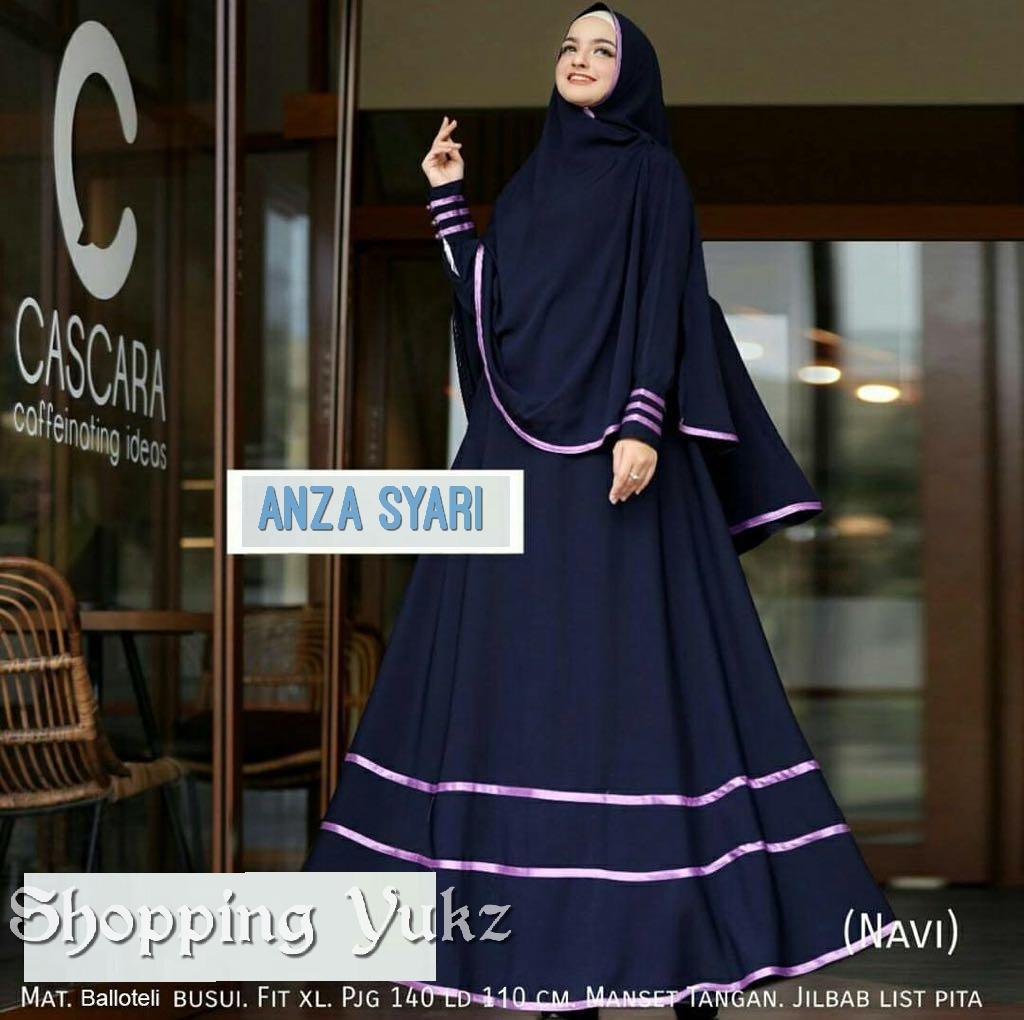 Shopping Yukz Baju Gamis Dress Muslim Syari Wanita ANZA NAVI ( Dapat Jilbab ) / Hijab Muslimah / Baju Muslimah Wanita / Syari Syari'i Muslim / Gaun Muslim / Long Dress Muslimah Wanita