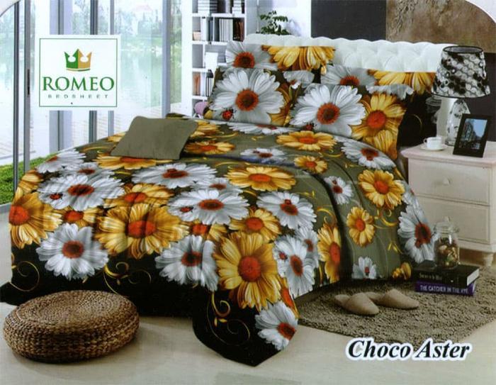 PROMO PALING MURAH Sprei Romeo ukuran 180 x 200 / King / No.1 - Choco Aster TERLARIS